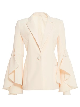 Long Sleeve Notched Lapel Plain Women's Blazer