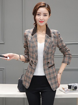 Long Sleeve Plaid Regular Women Slim Blazer