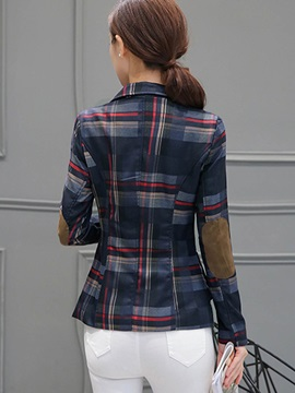 Plaid Slim Long Sleeve Notched Lapel Women Blazer