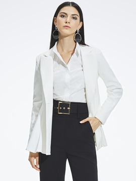 Long Sleeve Button Notched Lapel Women's Blazer