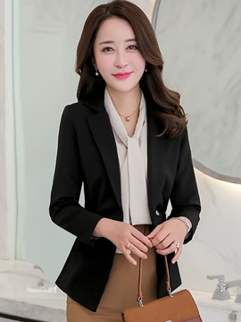 Pleated Slim Notched Lapel Women's Blazer