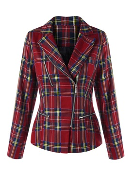 Chic Plaid Zipper Designed Women's Jacket