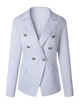 Double-Breasted Notched Lapel Women's Blazer