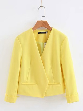 Candy Color Pocket V Neck Women's Blazer