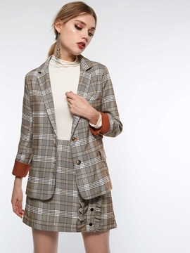 Nine Points Sleeve Plaid Single-Breasted Casual Women's Blazer