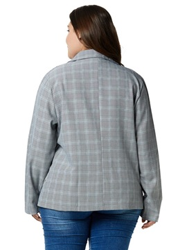 Plus Size Plaid Notched Lapel Fall Casual Women's Blazer