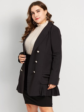 Plus Size Plain Double-Breasted Mid-Length Women's Casual Blazer