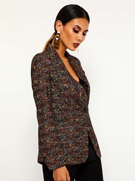 Floral Long Sleeve Notched Lapel Spring Casual Women's Blazer