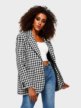 Plaid Long Sleeve Single-Breasted Casual Women's Blazer
