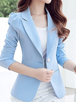 Notched Lapel Plain Long Sleeve Regular Standard Women