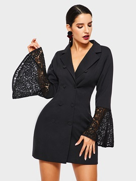 Notched Lapel Plain Long Sleeve Office Lady Women's Blazer
