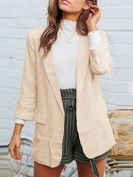 Notched Lapel Three-Quarter Sleeve Plain Mid-Length Women's Casual Blazer