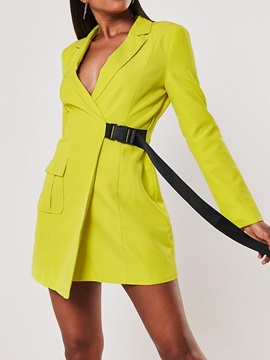 Notched Lapel Lace-Up Mid-Length Women's Casual Blazer