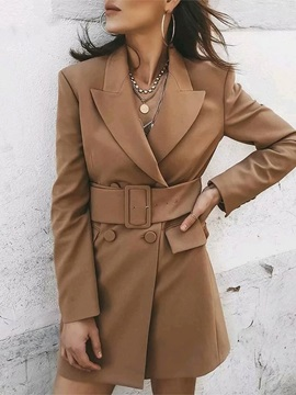Long Sleeve Double-Breasted Notched Lapel Regular Mid-Length Women's Casual Blazer