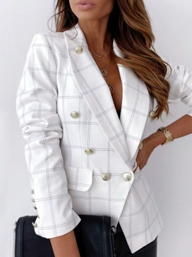 Notched Lapel Long Sleeve Plaid Fall Regular Women's Casual Blazer