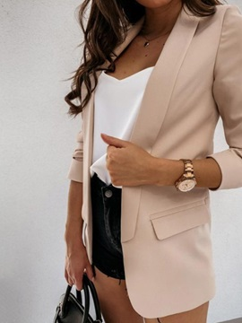 Wrapped Notched Lapel Plain Winter Regular Women's Casual Blazer