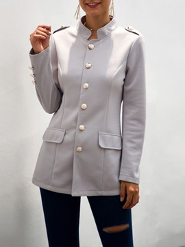 Single-Breasted Plain Stand Collar Regular Fall Women's Casual Blazer