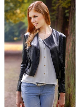 Casual New Zipper Pockets Stereoscopy PU Leather Jacket