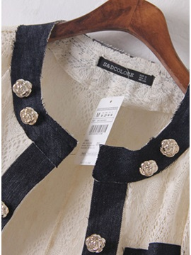 Modern New Pue Color Split Joint Casual Lace Jeans