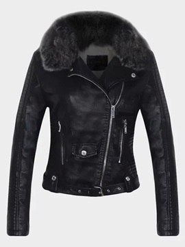 Stylish Sloping Zipper Warm Collar Jacket