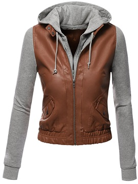 Stylish Knitting Hooded and Sleeves Short Jacket