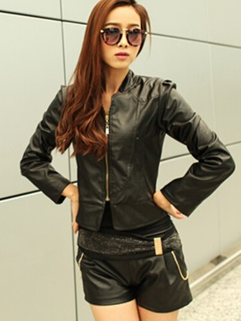 Stylish Shoulder Zipper Short Jacket