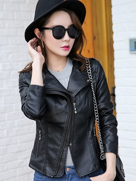 Cool Sloping Zipper Short PU Jacket