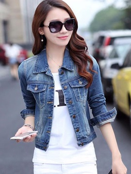 Casual Pocket Decoration Short Denim Jacket