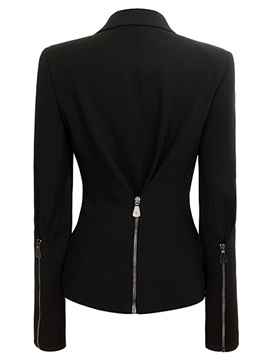 Chic Solid Color Zipper Decorated Slim Jacket