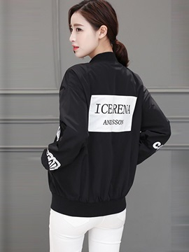Casual Letter Print Loose Jacket