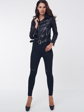 Chic Asymmetric Inclined Zipper Design Short Jacket