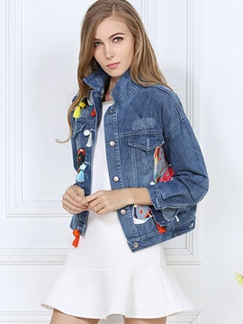 Chic Patch Decorated Denim Jacket