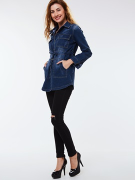 Stylish Lace-Up Denim Jacket