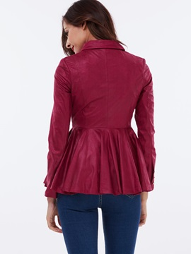 Stylish Zipper Peplum Jacket