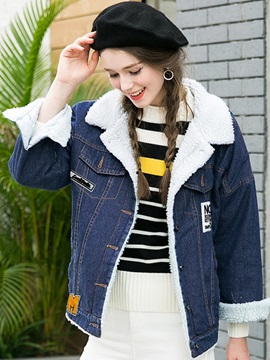 Stylish Letter Appliques Thick Jacket