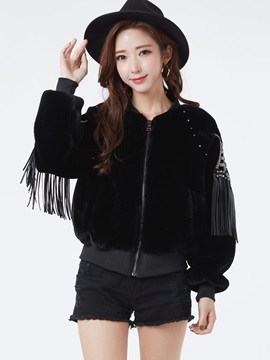 Stylish Plain Tassel Decor Embroideried Jacket