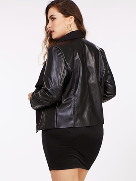 Stylish Notched Lapel Plus Size Jacket