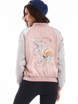 Stylish Stand Collar Embroideried Jacket