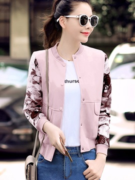 Chic Floral Sleeve Straight Jacket