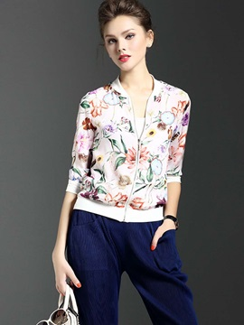 Stylish Thin Print Jacket