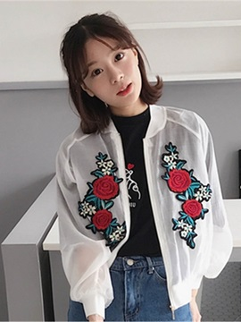 Thin Plant Embroidery Jacket