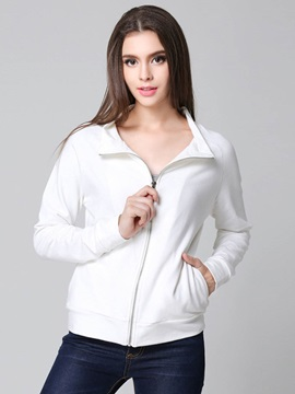 Simple White Zipper Jacket