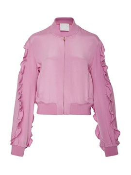 Stylish Plain Falbala Zipper Jacket