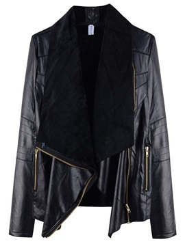 Winter Stylish Lapel Zipper PU Jacket