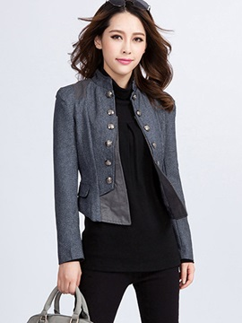 Vintage Slim Patchwork Button Jacket