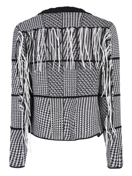 Houndstooth Tassel Patchwork Wrapped Women's Jacket