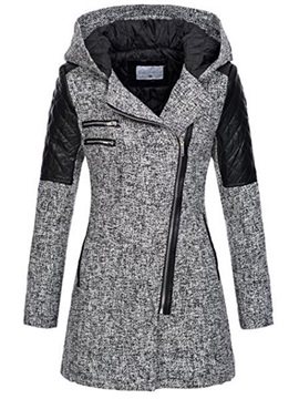 Color Block Winter Hooded Mid-length Zipper Women's Jacket