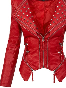 Rivet Leather Slim Zipper Plain Women's PU Jacket
