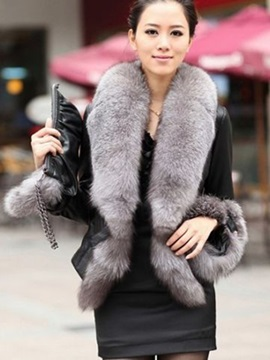 Wide Faux Fur Lapel PU Slim Women's Jacket