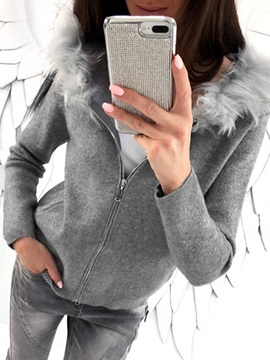 Artificial Fur Patchwork Hooded Women's Hoodie